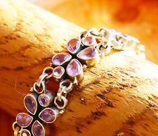 Massiv Grob Silber Amethyst Armband 20 cm Lila Handarbeit Kette Breit Floral