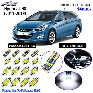 14 Bulbs LED Interior Dome Light Kit 6000K Cool White For 2011-2019 Hyundai i40
