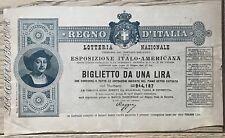 480) Regno d'Italia Lotteria Nazionale Espsizione Italo Americana C.Colombo