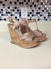 63ca7df6b Prada T-Strap Cork Wedge Sandal Beige Tan Platform Size 35 US 5 Patent Nude