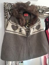 Juicy Couture Dessert Dog Heart Wool Poncho Cape Hooded New Festival