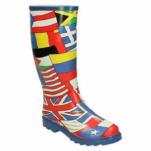 SPOT ON LADIES WELLIES FLAGS PULL ON RAIN FESTIVAL LONG WELLINGTON BOOTS X1R194