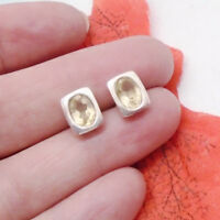 Citrin gelb oval eckig modern Design Ohrstecker Ohrringe 925 Sterling Silber neu