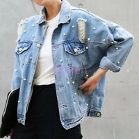 Womens Cool Denim Jeans Jacket Spring Ripped Hole BF Style Bead Coat S-2XL Hot