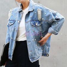 Women Hot Long Sleeve Denim Leisure Jean Jacket Ripped Hole Baggy Bead Coat 2017