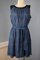 ANDREW MARC NEW YORK L 12 Blue Blue Lace Overlay dress Career Cocktail EUC Belt