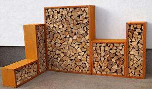 Edelrost Kaminholzregal Holzlager Holzschuppen Holzregal aus verrostetem Metall