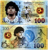 Russia 100 rubles 2020, Diego Maradona, Polymer souvenir banknote, UNC