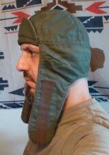 German Military Surplus OD Green Winter Hat Ear Flaps Cotton Poly Wool Medium