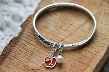 Teacher's Prayer Twist Bangle Apple Charm Bracelet