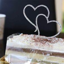 Romantic Crystal Rhinestone Silver Double Heart Cake Topper Wedding Decoration