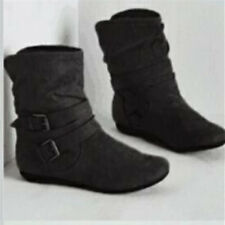 New Womens Ladies Flat Faux Suede Slouch Low Heel Wedge Ankle Boots Shoes Siz P1