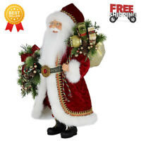 """New - Collection 16"""" Inch Standing Red and Wreath Santa Claus Christmas Figurine"""