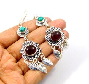 Garnet Quartz .925 Silver Plated Handmade Earring Jewelry JC9588