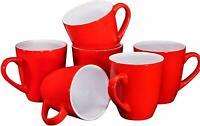 Bruntmor Ceramic Coffee Cups Mugs Set of 6 Large size Tea Coffee Mug 16 Oz Red