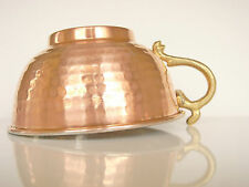 Copper Shaving Bowl (Regular) Handmade Cup w/ Brass Handle Hammered detail Razor