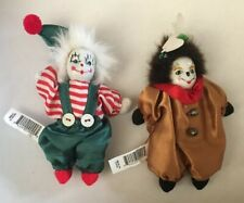 Vtg 5-inch Clown Porcelain / Ceramic Head On Cloth Body Halloween Scary Painted