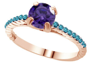 Amethyst & Diamond Solitaire With Accents Ring 18K Gold Plated