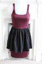 BNWT XS 6 Aqua Aq/aq Bodycon Peplum Mini Dress Black Burgundy Colorblock $88 RRP