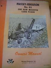 VINTAGE MASSEY FERGUSON OPERATORS MANUAL - MF  # 61 CORN PICKER - 1959