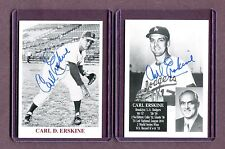 Autographed Signed Lot Of 2 Carl Erskine Dodgers Small Photo Cards jh33