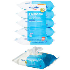 Equate Flushable Wipes, Fresh Scent Hypoallergenic 5 packs of 48 wipes 240 total