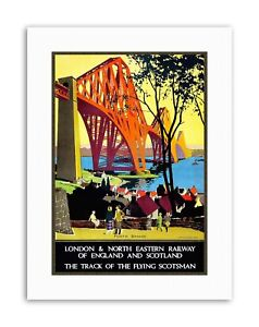 RAILWAY FLYING SCOTSMAN FORTH BRIDGE NEW Poster Picture Vintage Canvas art