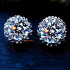 Stamp S925 Solid Sterling Silver Clear Diamond Created CROWN Stud Earring IE58
