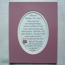 MOTHER IN LAW Loyal Friends GOD MADE Loving RARE True Dear verses poem plaques
