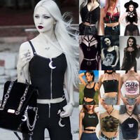 Women Goth Dark Punk Vest Short Sleeveless Tops Casual Sexy Tank Tops Camisole