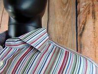 Thomas Dean Mens Dress Shirt Size Medium Flip Cuff White Stripe Long Sleeve