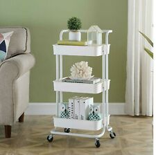 3 Tier Mobile Kitchen Trolley Cart Handle Slim Rolling Storage Rack With Wheels