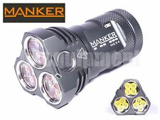 MANKER MK34 12x Cree XP-G3 8000lm CW LED Flashlight+Pouch+3x 18650+Charger