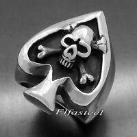 Men's Ace of Spades Skull Crossbones 316L Stainless Steel Biker Ring