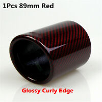 Car 89mm Exhaust Pipe Red Twill 100% Real Carbon Fiber Cover Muffler Tip housing