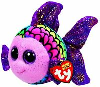 TY Beanie Boo Plush - Flippy The Glitter Eye Pink Fish - 15cm
