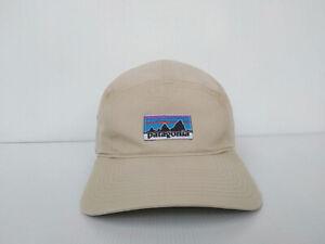 RARE Patagonia Retro Fitz Roy Label Tradesmith 5 Panel Hat Cap Beige Men's