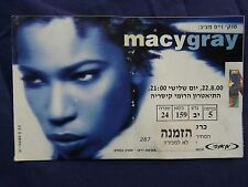 israel vtg 22/8/2000 macy gray concert Invitation ticket not for sell hebrew