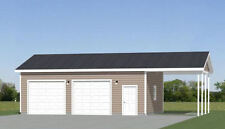 30x24 2-Car Garage with Carport -- 720 sqft -- PDF Floor Plan -- Model 10I
