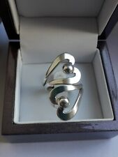 Tianguis Jackson Sterling Silver Heart Modernist Statement Band Ring Size O.