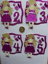 4 pink glitter girls 2 3 4th & 5th Birthday special handmade birthday toppers