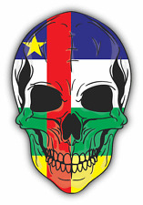 "Skull Flag Central African Republic Car Bumper Sticker 4"" x 5"""