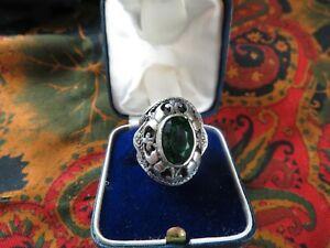 ancienne superbe grosse bague en argent cabochon vert  epoque 1900