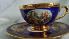 RARE COBALT BLUE FILIGREE 22K GOLD TEA CUP SAUCER SEVRES STYLE 1940 VOGUE CHINA
