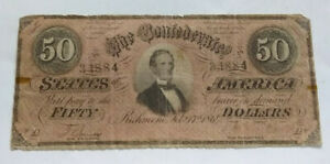 1864 $50 CONFEDERATE CURRENCY                          BCS/2/612