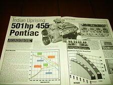 PONTIAC 455 ci 501 HP  ***ORIGINAL 2001 ARTICLE***