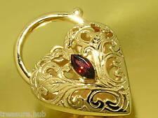 K021- Superb LARGE & Heavy 9ct SOLID Gold Natural Garnet Heart PADLOCK Clasp
