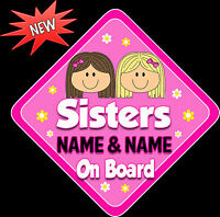 Personalised Sisters with flower Baby/ child on Board Car Window Sign