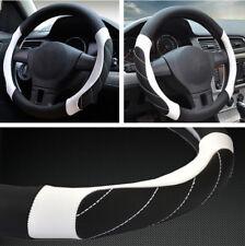 "38cm 15"" Car Non-Slip Steering Wheel Cover Microfiber Leather Black White Lines"