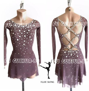 New Brown Girl's Women's Figure Skating Ice Dress For Competition
